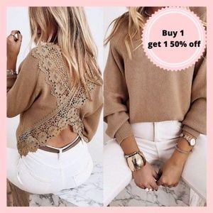 Brown Tan Lace Back Sweater Blouse